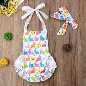 Other - Easter Bunny Rabbit Baby Girls Ruffle Romper Set